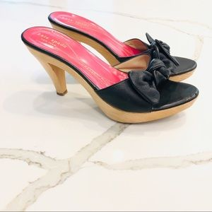 Kate Spade Leather Bow Wooden Heels